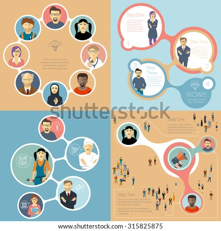 Flat design  teamwork vector infographic template collection.  - stock vector