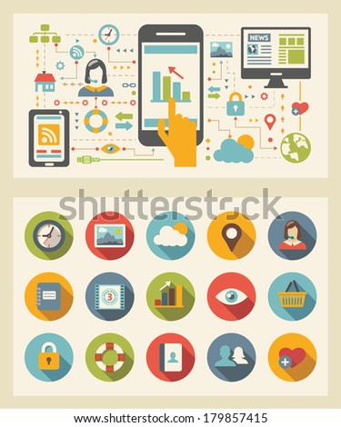 Flat Design Template. - stock vector