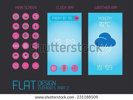 Flat design template for mobile devices - Vector Illustration  - stock vector