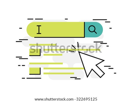 Flat design thin line concept of web search, vector illustration - stock vector