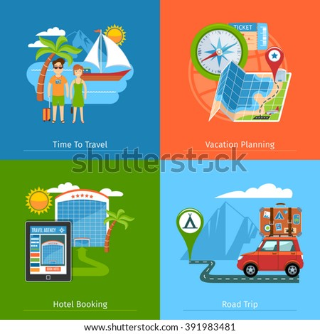 Flat Design Travel Banners Set. Vector Illustration  - stock vector