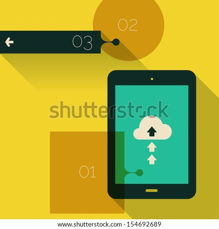 Flat design ui device abstract interface with long shadow, EPS 10 - stock vector