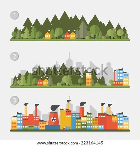 Flat design urban landscape - stock vector