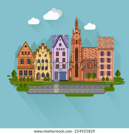 Flat design urban landscape.Day street with roads and buildings European style. - stock vector