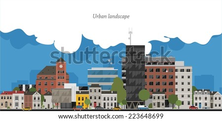 Flat design urban landscape illustration - stock vector