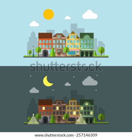 Flat design urban landscape. Night city and day city and building. Vector illustration - stock vector