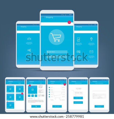Flat design user interface for smart phone or mobile e-shop apps. Navigation menu with line icons and buttons. Various application screens. Eps10 vector illustration - stock vector