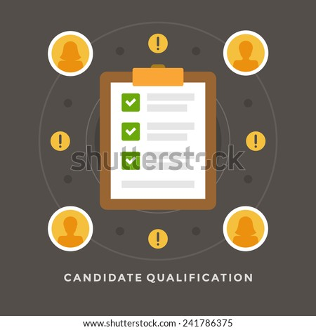 Flat design vector business illustration concept Candidate qualification job interview and check list for website and promotion banners. - stock vector