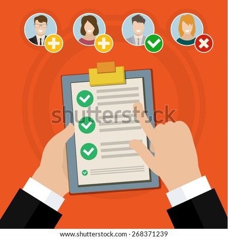Flat design vector business illustration concept Candidate qualification job interview and check list. - stock vector