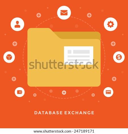 Flat design vector business illustration concept Database exchange folder for website and promotion banners.  - stock vector