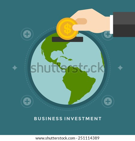 Flat design vector business illustration concept Investment hand hold money coin for website and promotion banners.  - stock vector
