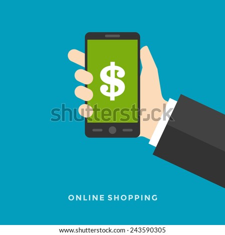 Flat design vector business illustration concept Online banking payments services hand hold smart phone for website and promotion banner.  - stock vector
