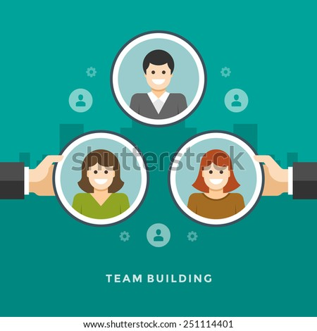 Flat design vector business illustration concept Team building hands holding employee icons for website and promotion banners.  - stock vector