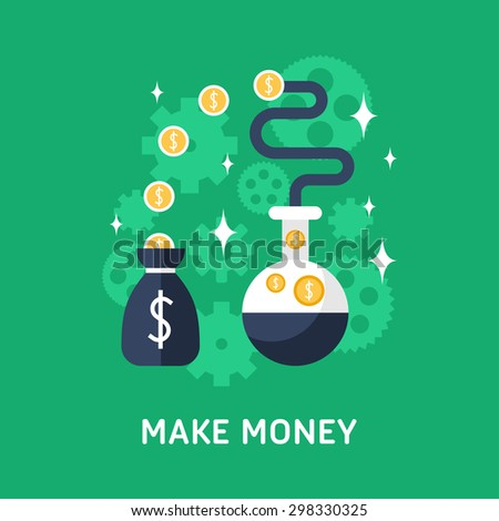 Flat Design Vector Business Illustration. Make Money - stock vector