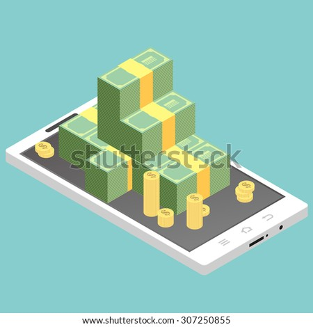 Flat design vector colored illustration concept for mobile banking and online payment isolated on bright background - stock vector