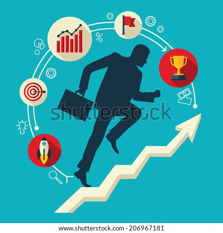 Flat design vector colored illustration of businessman running up along arrow surrounded by business icons. Concept for successful business, professional growth, career achievements - stock vector