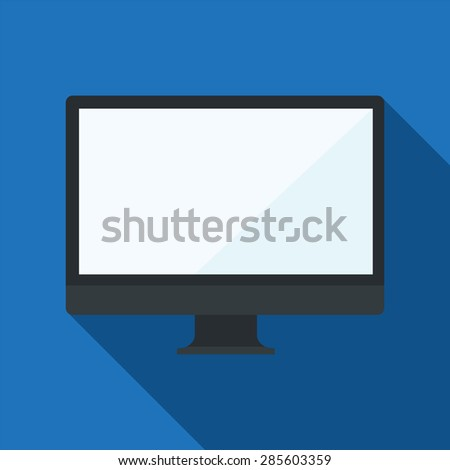 Flat design vector computer monitor icon, EPS10  - stock vector