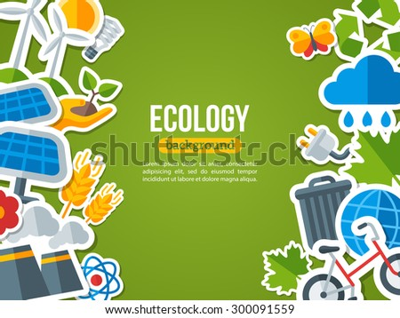 Flat Design Vector Concept for Ecology, Recycling and Green Technology. Solar Green Energy, Wind Energy. Save the Planet Banner Design. Go Green. Save the Earth. Earth Day. - stock vector
