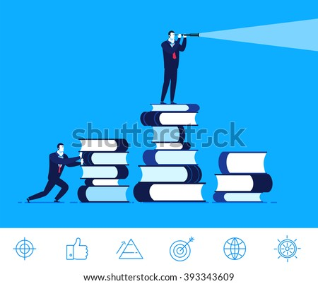 Flat design vector concept illustration. Businessman standing on a large pile of books and looking through a telescope. Received knowledge. Success very close. Good profit. Vector clipart. Icons set.