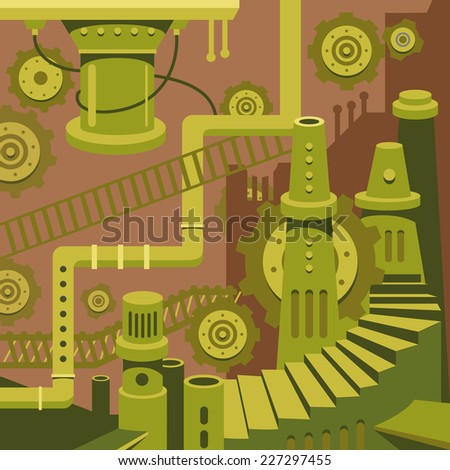 Flat design vector concept illustration of factory, plant, environment, energy and pollution and recycling for print materials  - stock vector