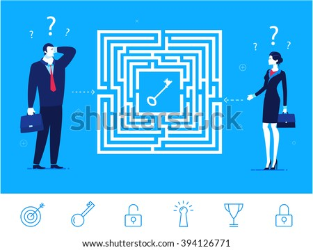 Flat design vector concept illustration. Teamwork. Businessman and businesswoman thinking how to pass the maze and get the key. Choose the right path. Vector clipart. Icons set. - stock vector