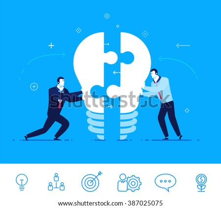 Flat design vector concept illustration. Two businessmen unite lamp of the puzzle.  Joining forces, the birth of a new idea . Vector clipart. Icons set. - stock vector