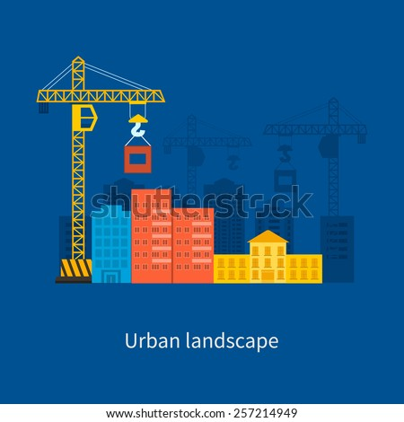 Flat design vector concept illustration with icons of building construction and urban landscape. Concept Vector Illustration in flat style design. Real estate concept illustration. - stock vector