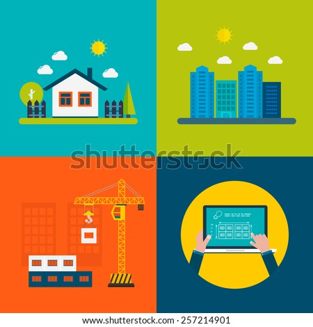 Flat design vector concept illustration with icons of building construction, urban landscape, farmhouse, design of buildings  - stock vector