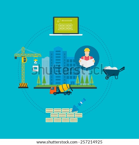 Flat design vector concept illustration with icons of building construction, urban landscape and design of buildings. Stages and construction tools - stock vector