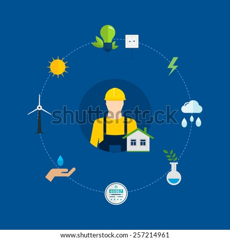Flat design vector concept illustration with icons of ecology, environment and eco friendly energy. Concept of green building and clean energy - stock vector