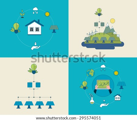 Flat design vector concept illustration with icons of ecology, environment and eco friendly energy. Concept of running a clean house and green energy. Thin line icons. - stock vector