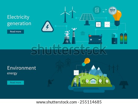 Flat design vector concept illustration with icons of ecology, environment and electricity generation. Vector illustration - stock vector