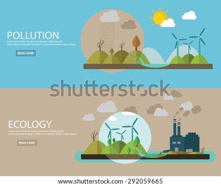 Flat design vector concept illustration with icons of ecology, environment, contamination and pollution. web banner - stock vector