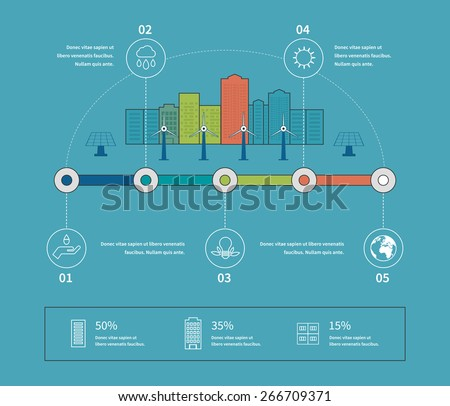 Flat design vector concept illustration with icons of ecology, environment, eco friendly energy and green technology. Thin line icons.   - stock vector