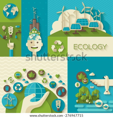 Flat design vector concept illustration with icons of ecology, environment, green energy and pollution. Save world. Save the planet. Save the Earth. Creative concept of Eco Technology. - stock vector