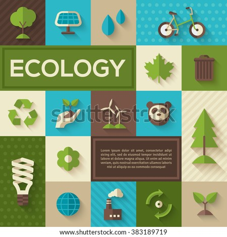 Flat design vector concept illustration with icons of ecology, environment, green energy and pollution. Save world. Save the planet. Save the Earth. Concept Poster of Eco Technology. Place for text