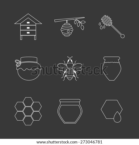 Flat design vector concept illustration with icons of  products bee-keeper and best product organic natural honey bee.  Thin line icons.  - stock vector