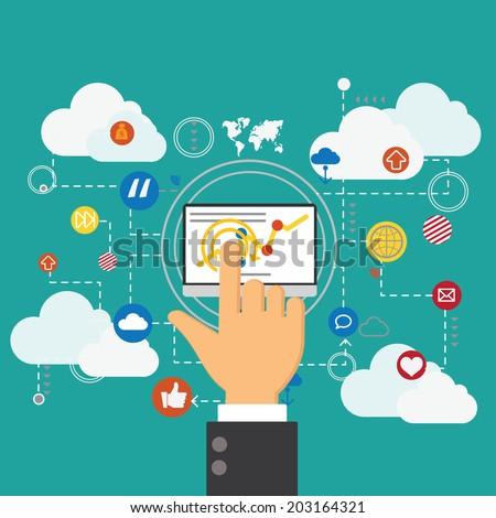 Flat design vector concept network marketing,digital marketting concept - stock vector