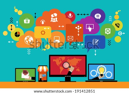 Flat design vector concept network marketing. Smartphone, tablet, laptop, monitor surrounded interface icons, speech bubbles and clouds. File is saved in AI10 EPS version.   - stock vector
