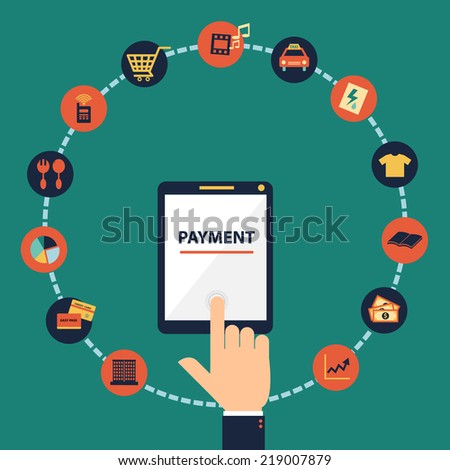 Flat design vector concept of mobile banking , mobile payment, online banking, online payment via application on  smartphone or tablet.  - stock vector