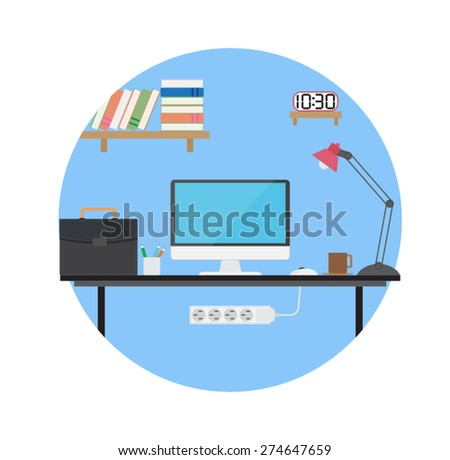 Flat design vector desktop design of workplace - stock vector