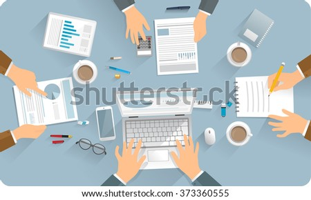 Flat design, vector draw illustration.  Isolated objects. In office business meeting at working table. Group of person, technical devices, paper, documentation.  - stock vector