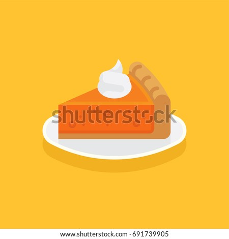 Flat design vector food and gastronomy icon on pumpkin pie. Piece of traditional thanksgiving pumpkin pie