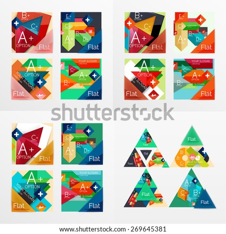 Flat design vector geometric info banners, web boxes, infographic templates. Squares and triangles - stock vector