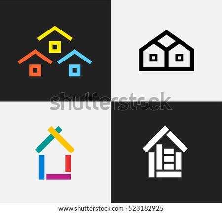 Flat Design Vector Houses Icon Or Logotype Set. Building Sign And Simple  Home Illustrations.