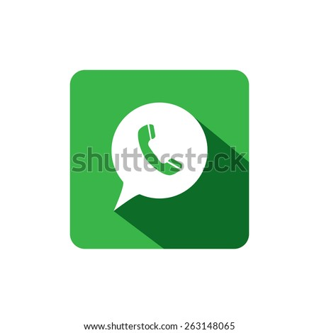 flat design vector icon of phone receiver for chat interaction on internet, mobile phones, social media sites - social media graphic - stock vector