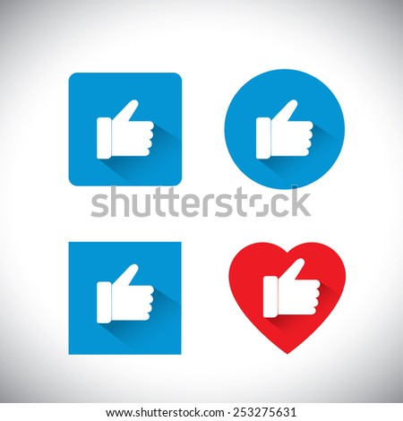 flat design vector icons collection of like symbols used in social media websites. this also represents concepts like endorse, accredit, vote, recommend, praise, love,  appreciate, approve - stock vector