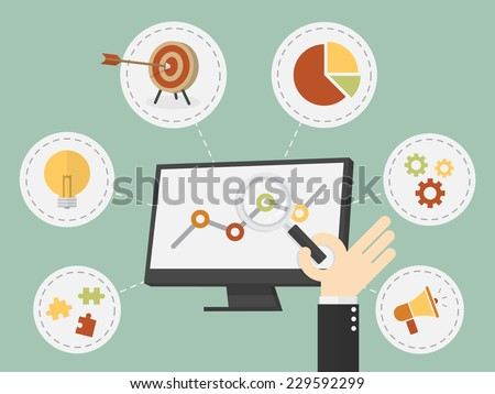 Flat design vector illustration business analysis, SEO - stock vector