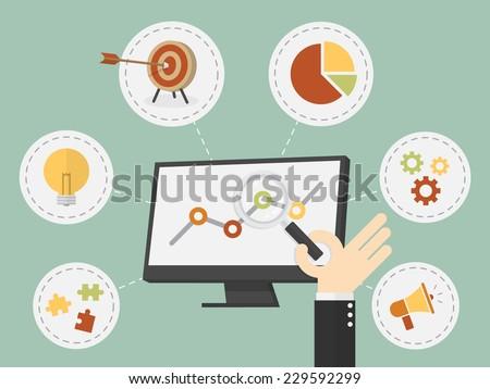 Flat design vector illustration business analysis, SEO - stock vector