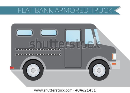 Flat design vector illustration city Transportation, bank armored Truck, side view . - stock vector